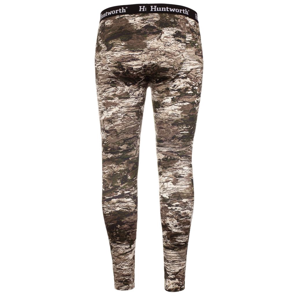 midweight Camo Hunting Base Layer Bottom - Comfort elastic waistband.