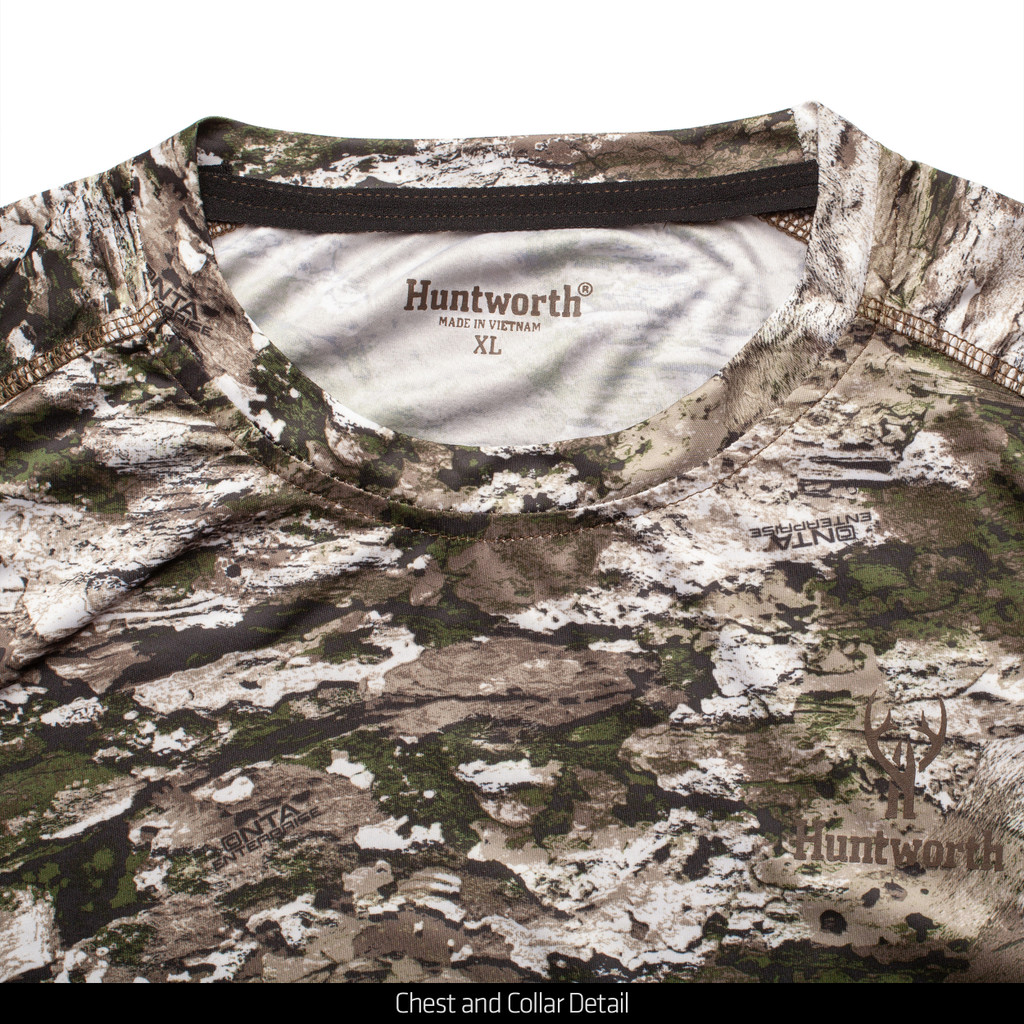 Light Weight Scent Control Long Sleeve hunting Shirt - Chest and collar detail.