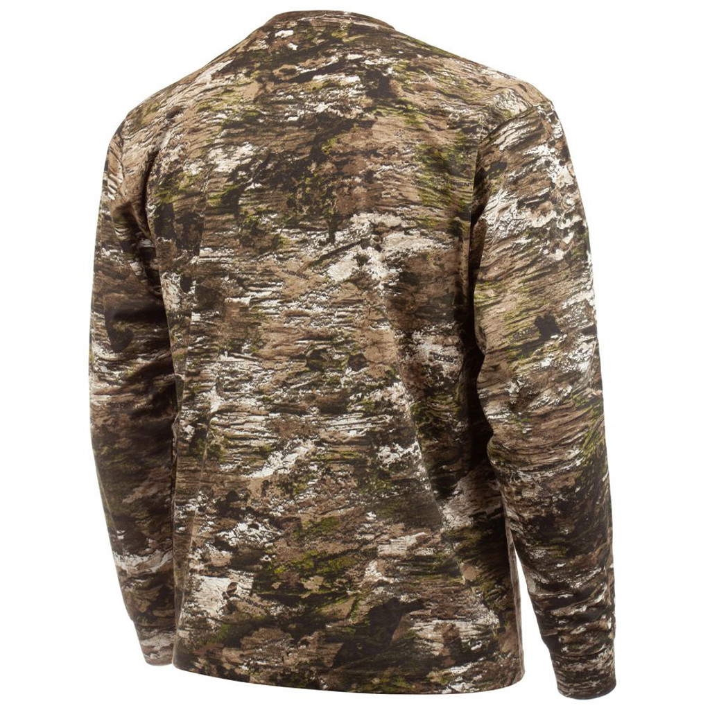 Rear view: Light Weight Cotton/Poly Hunting Shirt - Tag free collar.