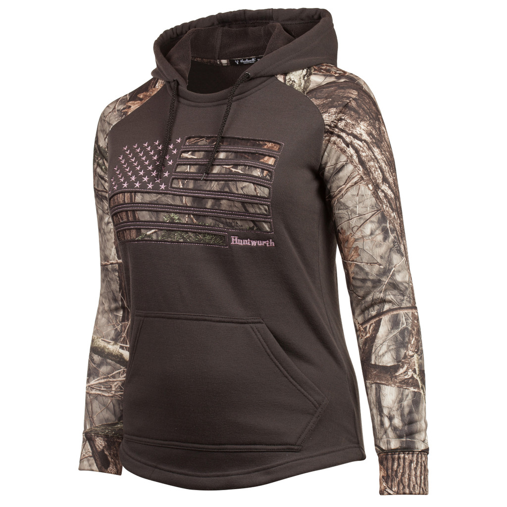 Women's Charocal Gray and Hidd'n Camo color Knit Jersey Camo Flag Hoodie.