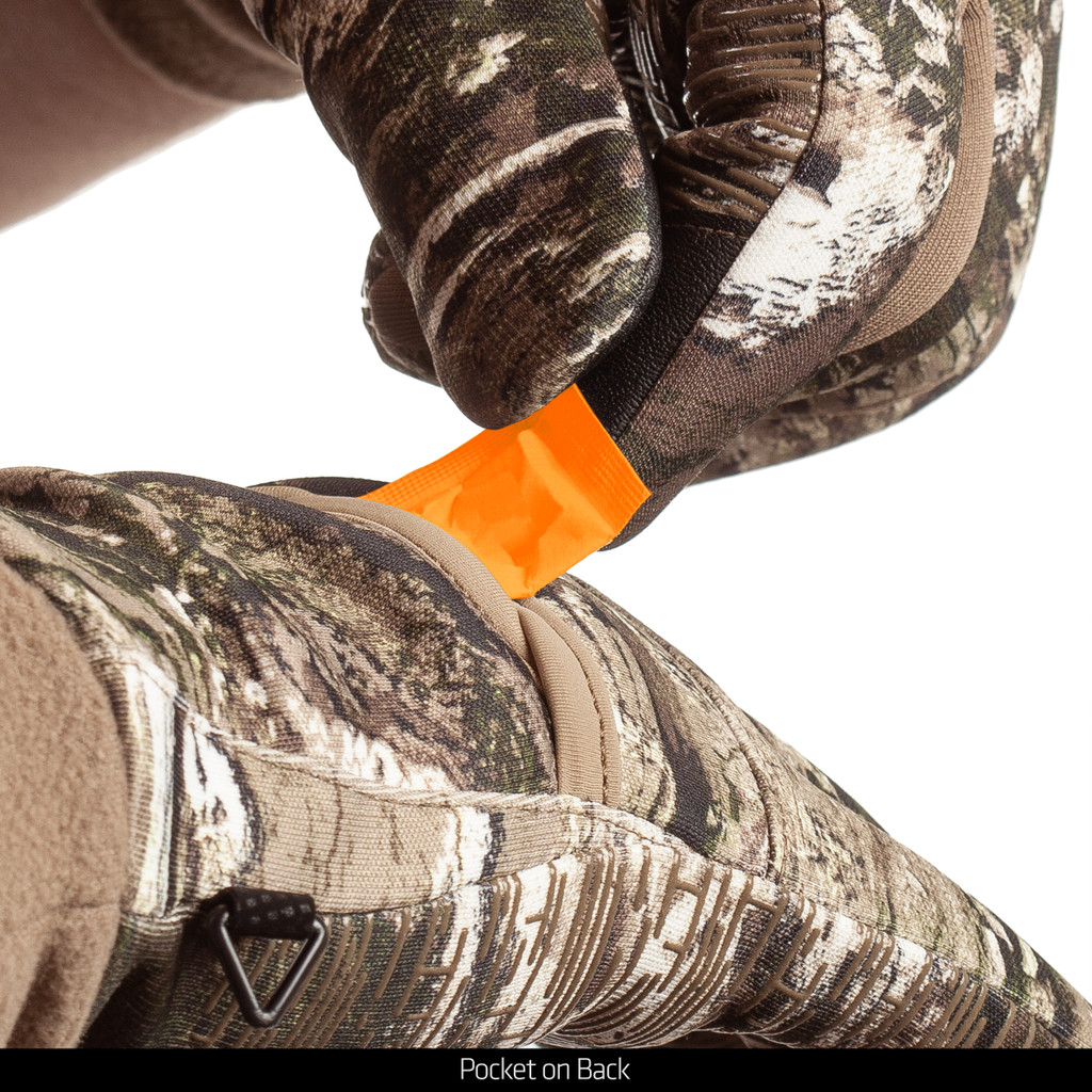 midweight Waterproof Hunting Gloves - Pocket on back.