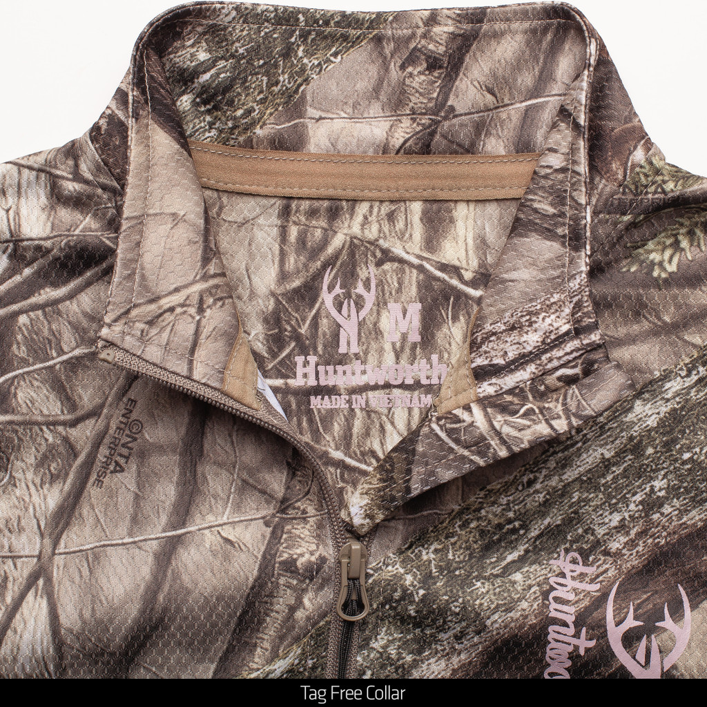 Light Weight Camo Hunting 1/4 Zip Pullover - Tag free collar.