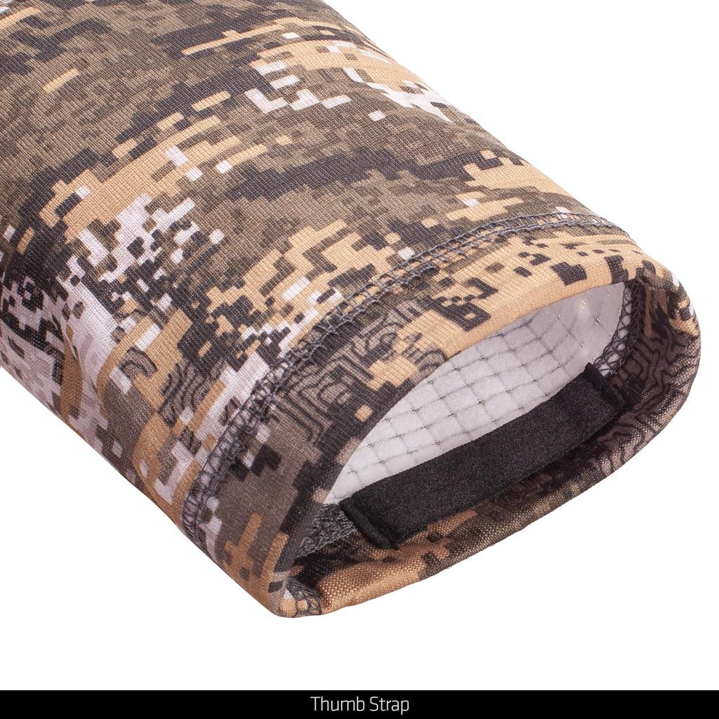 Midweight Camo hunting jacket - Thumb strap.