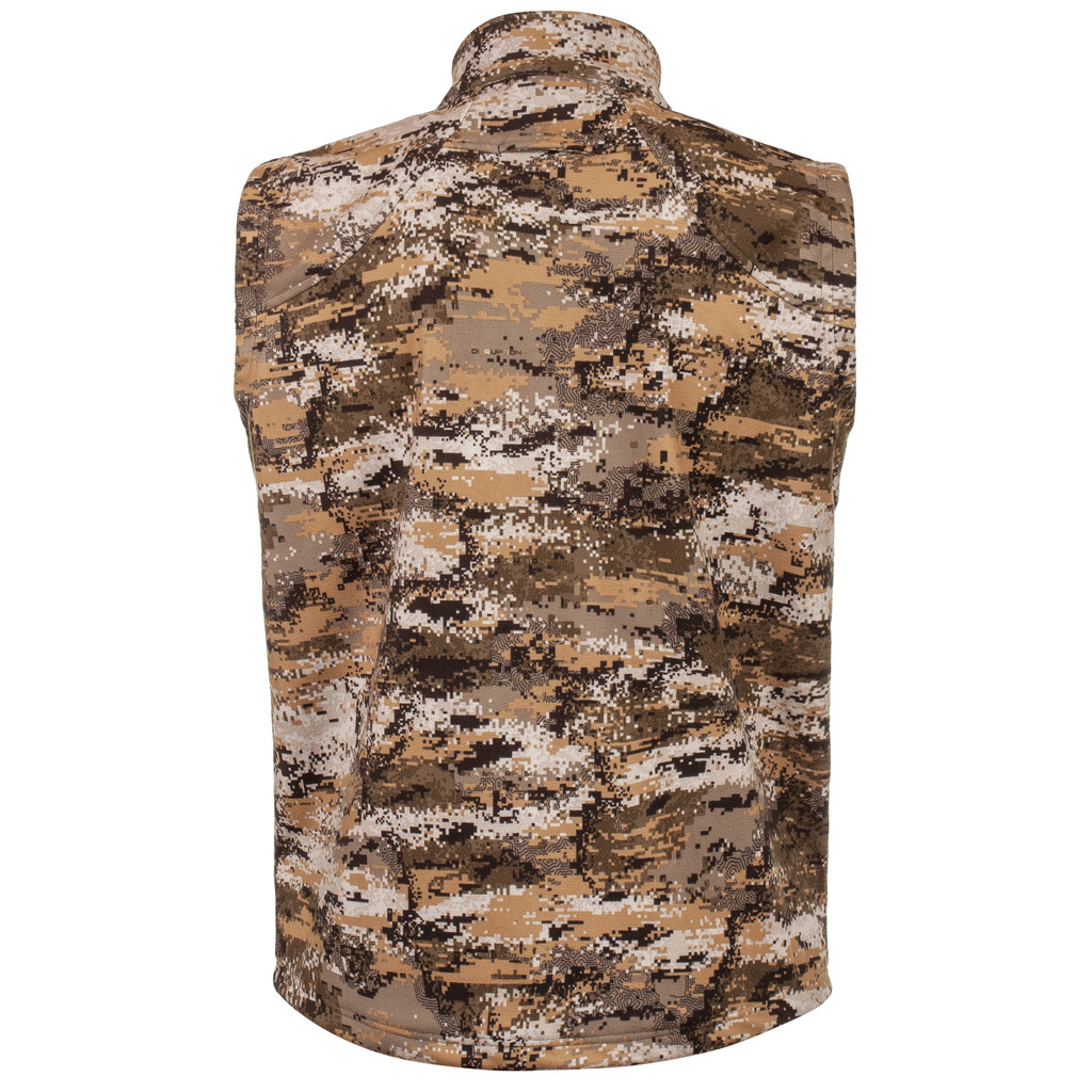 Rear view: Midweight Grid Fleece Bonded Camo Hunting jacket - DWR finish .