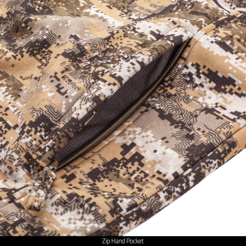 Windproof camo hunting jacket - Zip hand pocket.