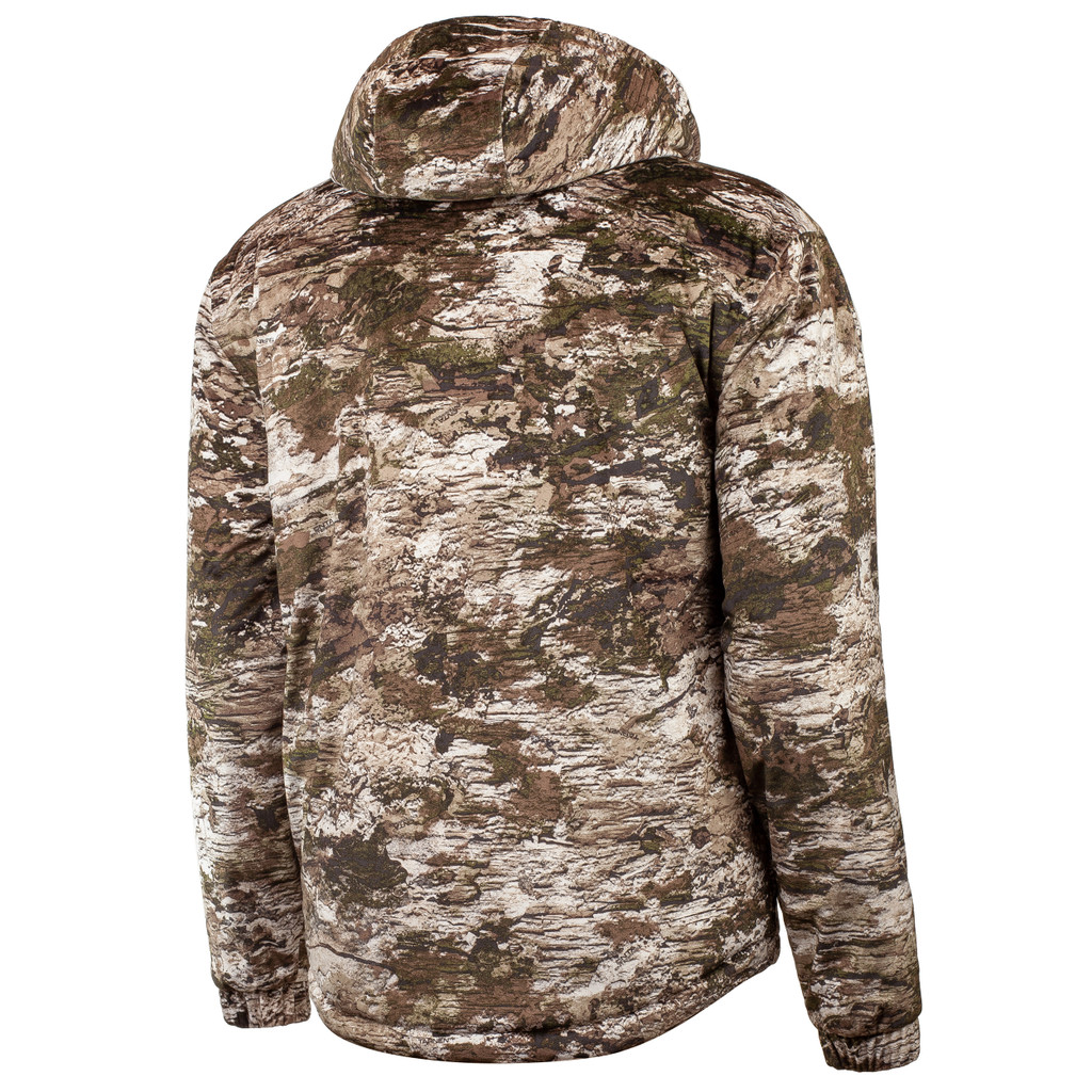 Rear view: Heavyweight sherpa lined camo hunting jacket - Fully lined hood.