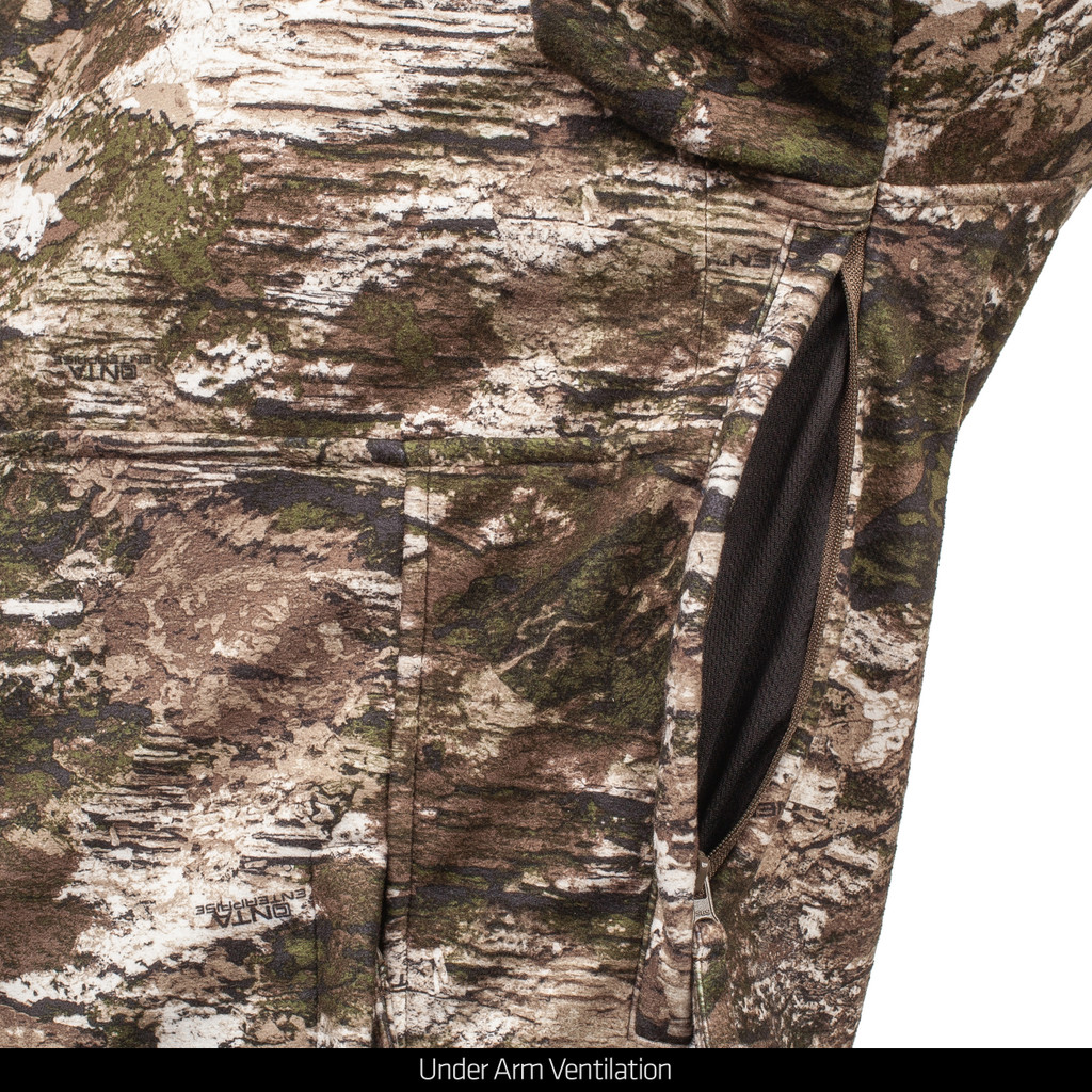 Camo hunting windproof hunting jacket - Under Arm Ventilation.