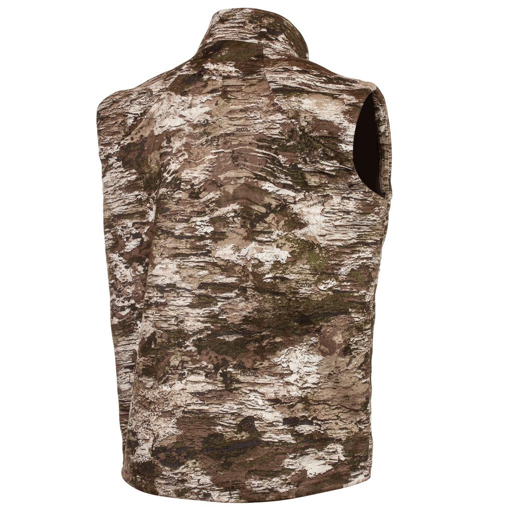 Rear view: Midweight Windproof hunting vest - Drop tail hem.