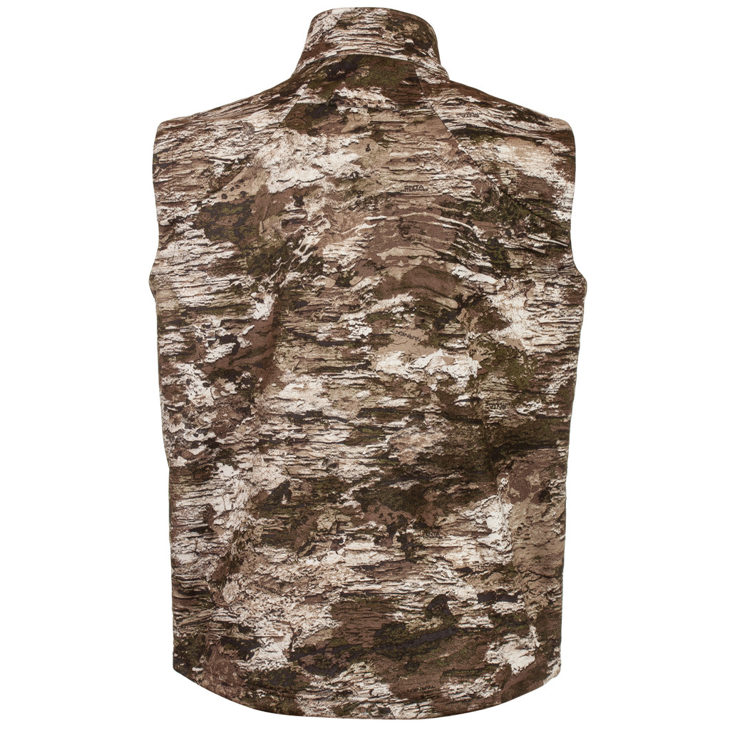 Rear view: Midweight Grid Fleece Bonded Camo Hunting jacket - DWR finish.