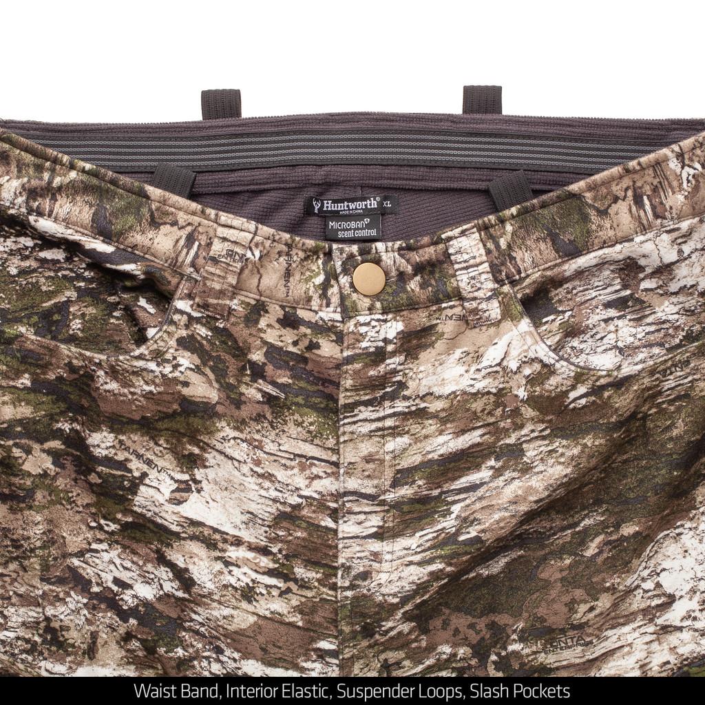 Men's camo windproof pants - Waistband detail.
