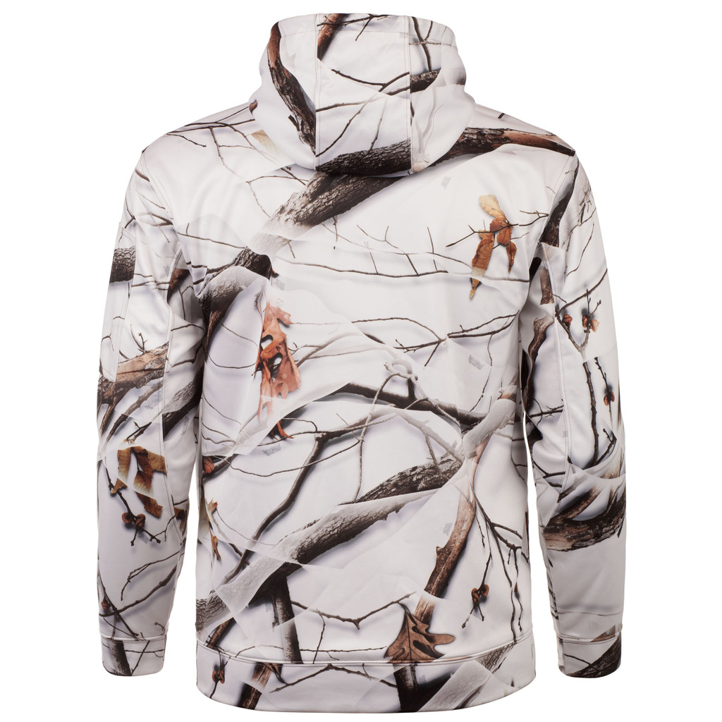 Rear view: Snow Camo Hoodie - Hood lined with second layer fleece.