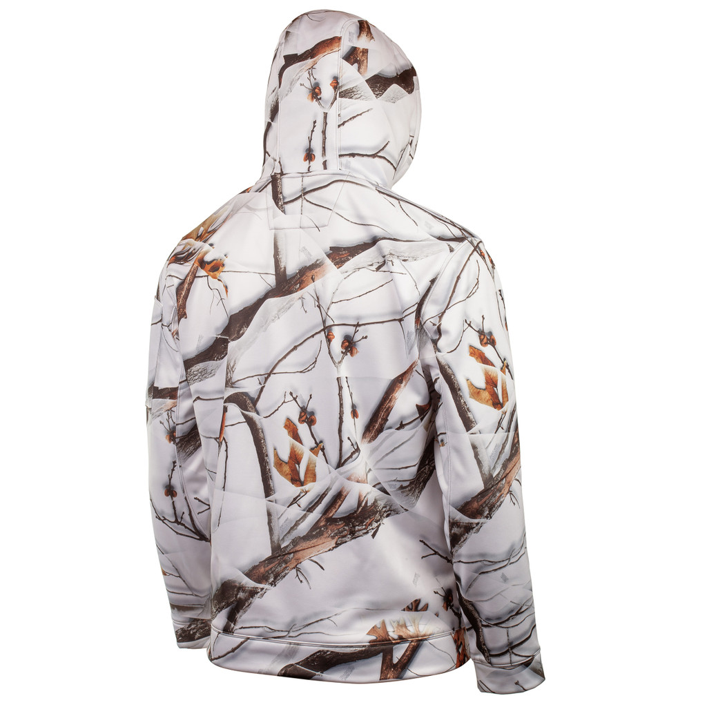 Rear view: Midweight Hunting hoodie - Draw cord in hood.