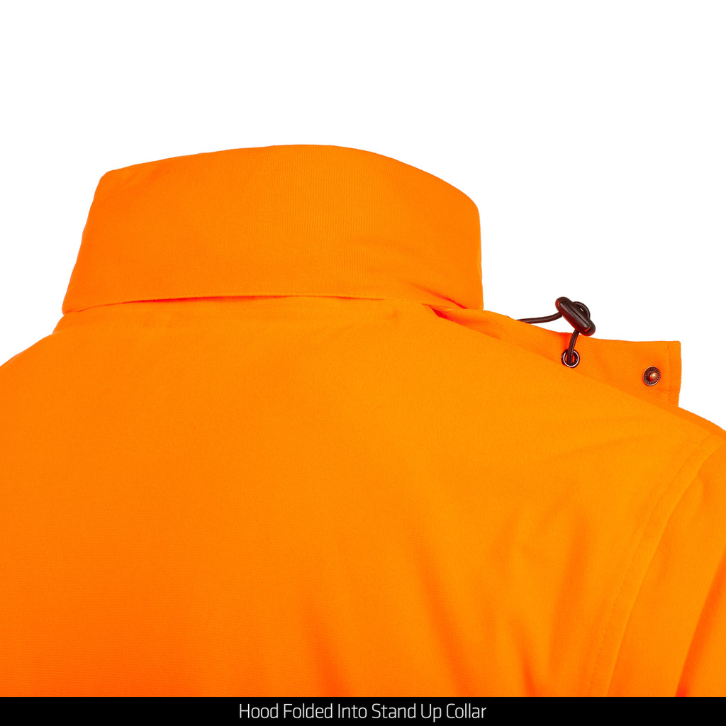 Blaze Heavyweight Jacket - Hood folded into stand up collar.