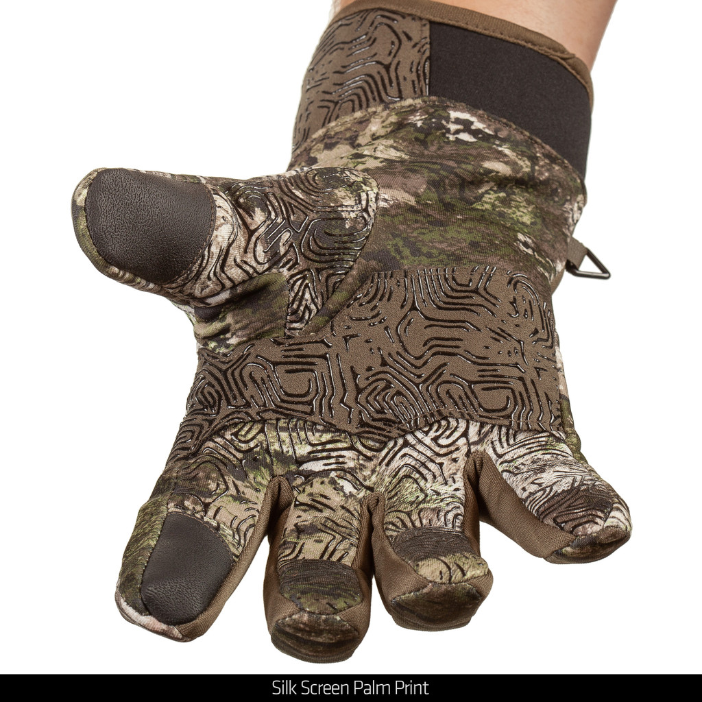 Midweight water resistant hunting gloves - Silk screen palm print.