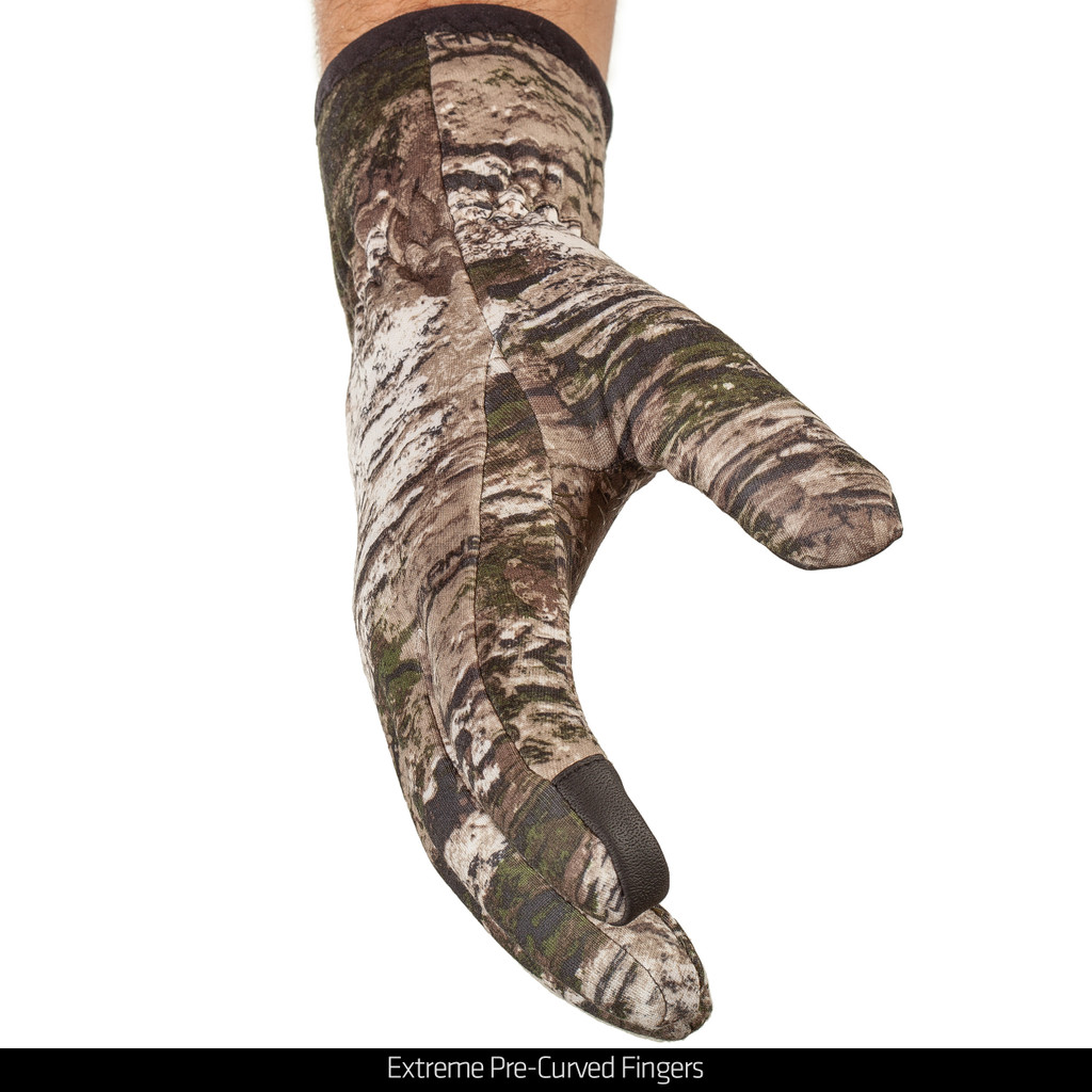 Midweight lined camo hunting gloves - Extreme Pre-Curved fingers.