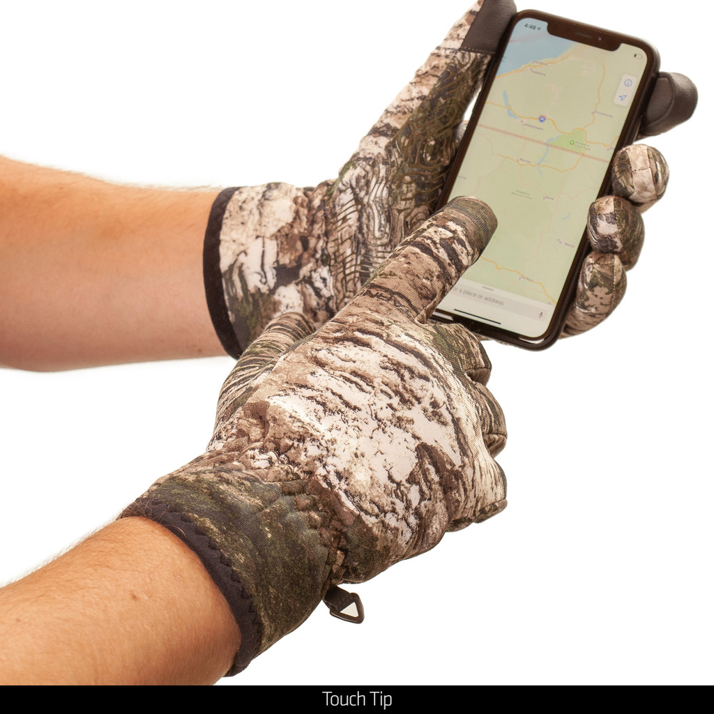 Non-slip fused lining hunting gloves - Touch tip.