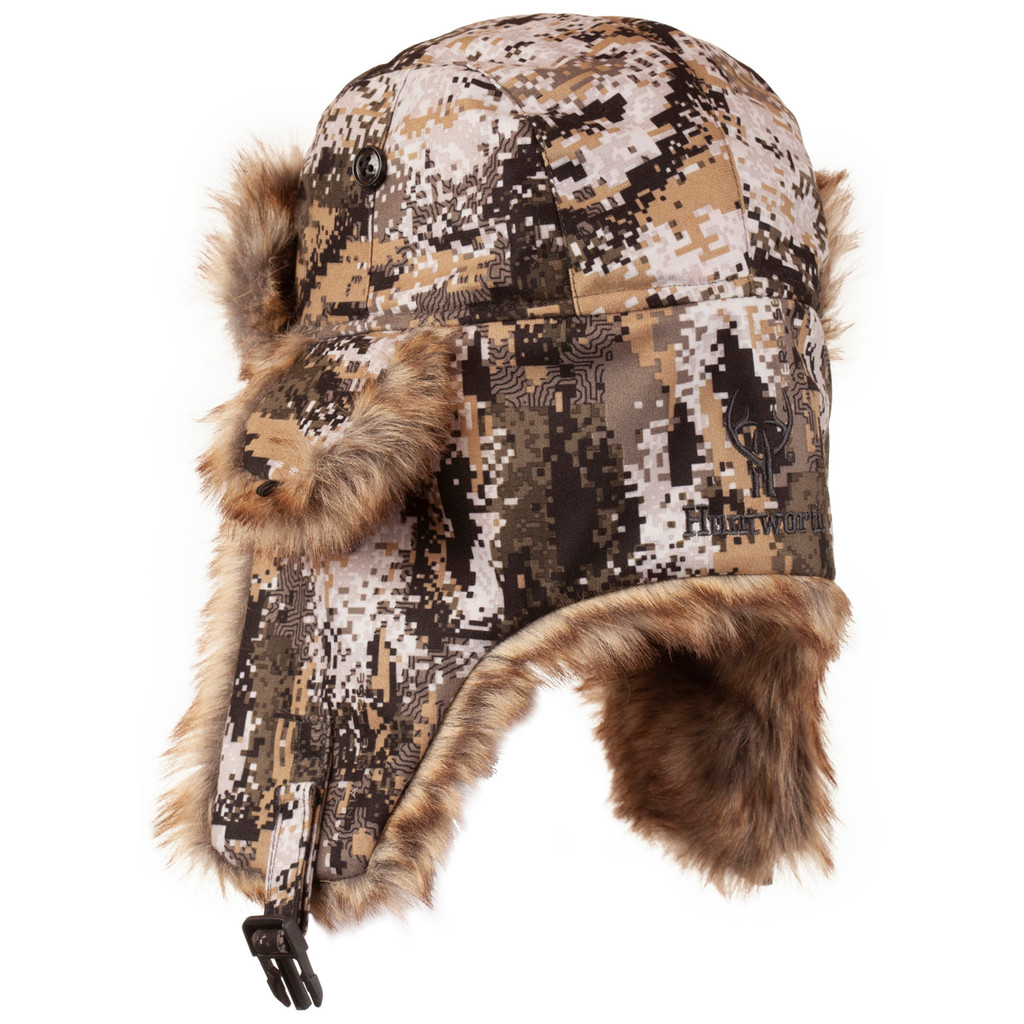 Rear view: Disruption® Hat - Lined ear flaps.