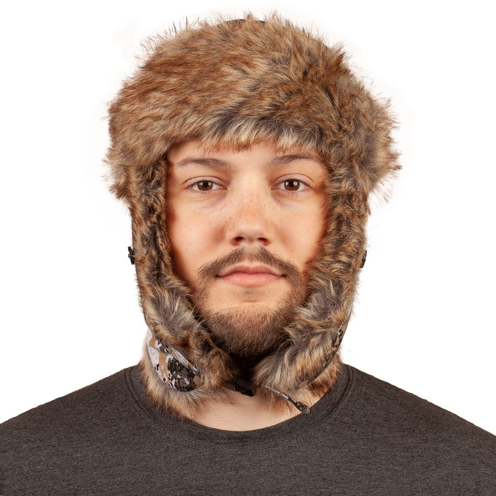 Disruption® pattern Hat - Faux fur lining around ears and neck.