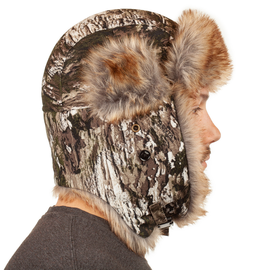 Waterproof Trapper Hat - Quilted polyester in crown.