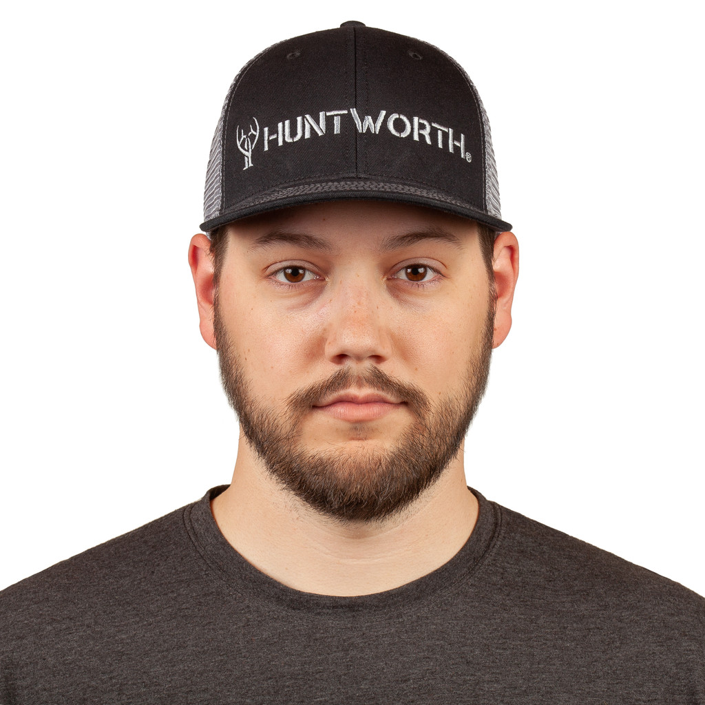 Black Cotton Hunting Snapback - Structured front panels.