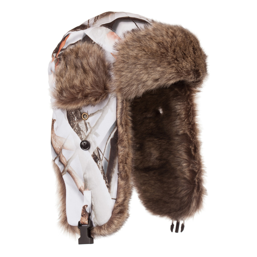 Men's Snow Camo Heavyweight Waterproof Hunting Trapper Hat.