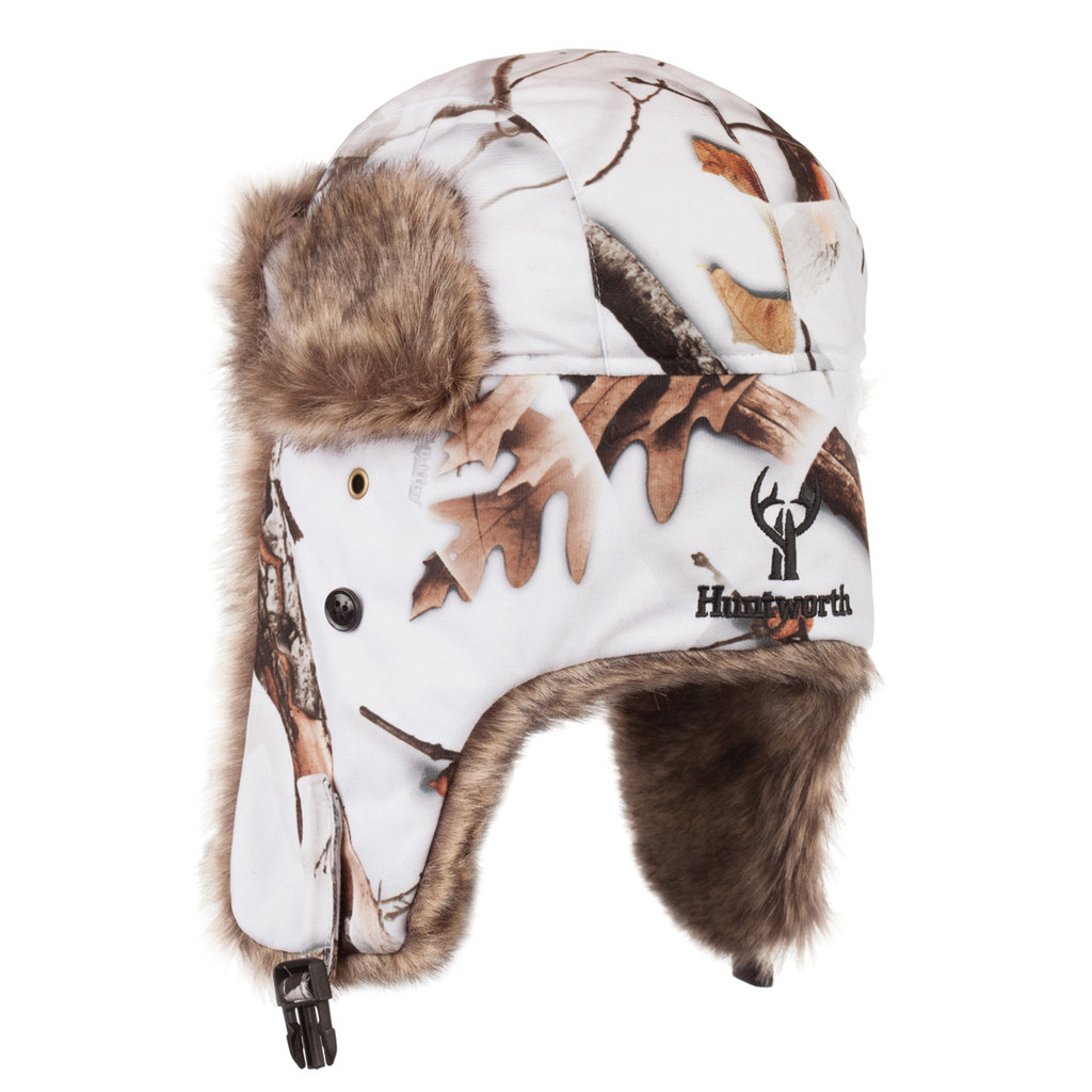 Rear view: Snow Camo Hat - Soft tricot shell.