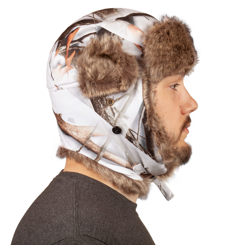 Snow Camo Hunting Hat - Heavyweight to keep you warm.