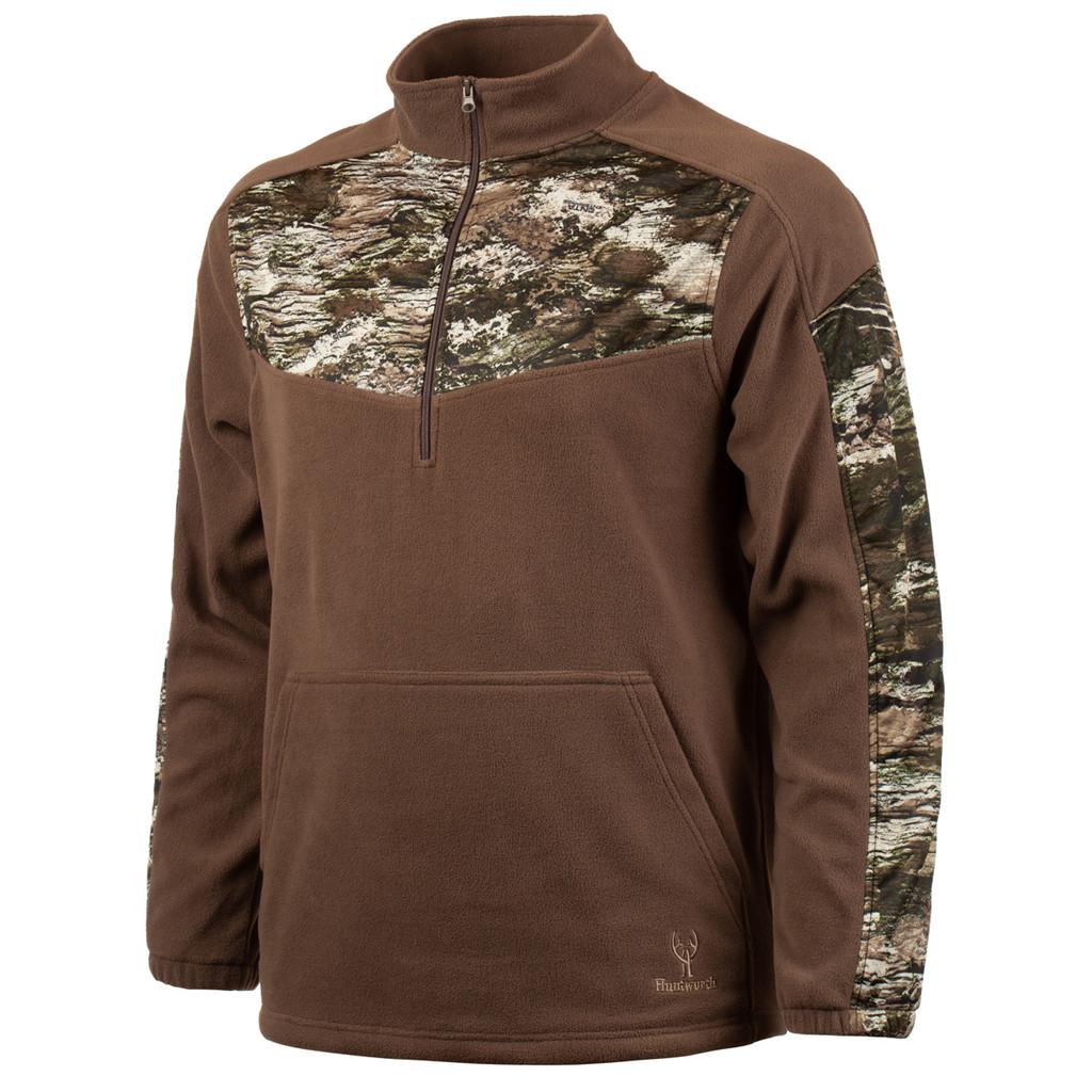 Men's Ash Brown and Hidd'n Camo color Anti-Pill Fleece Lifestyle 1/4 Zip.