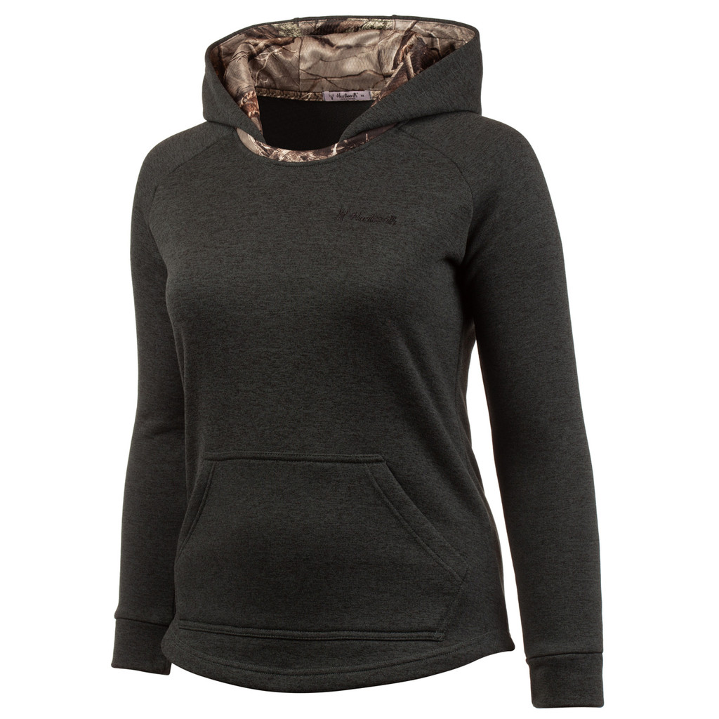 Women's Heather Juniper and Hidd'n Camo color Knit Jersey Lifestyle Hoodie.