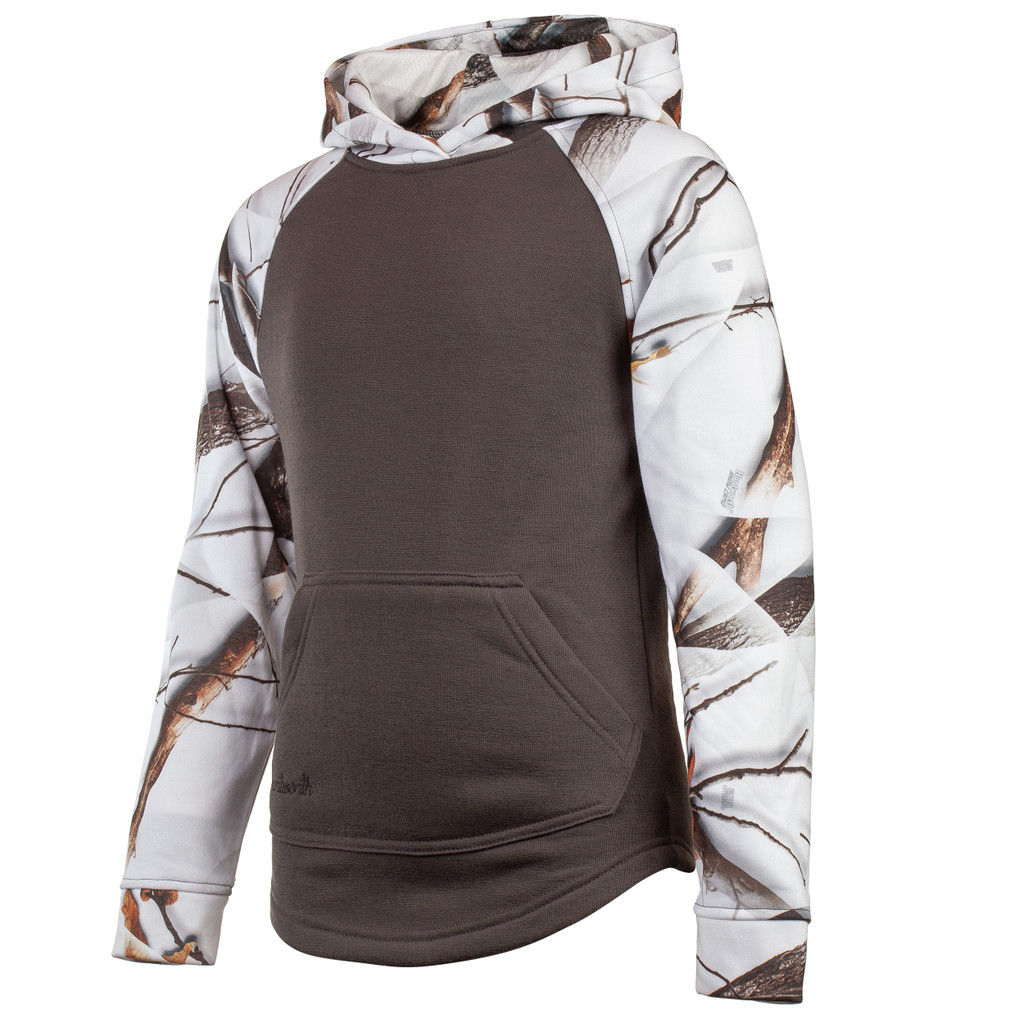 Youth's Charcoal Gray and Snow Camo color Knit Jersey Lifestyle Hoodie.