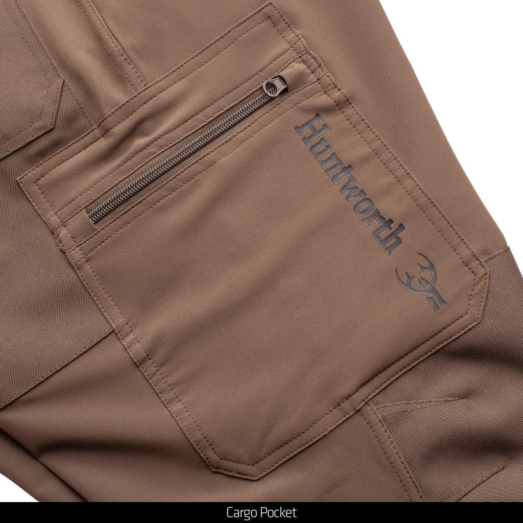 Ash Brown  lightweight hunting pants - zipper cargo pockets.