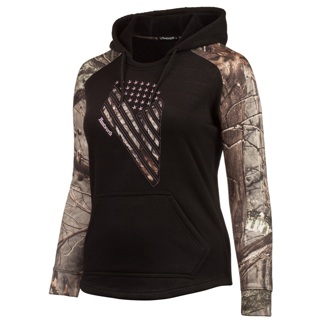 Women's Black and Hidd'n Camo color Knit Jersey Camo Flag Hoodie.