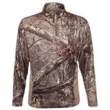 Rear view: Hidd'n® pattern 1/4 Zip Pullover - High stand collar.