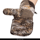 midweight Long Pile Fleece Lined Camo Hunting Gloves - Palm up silk screen.