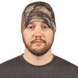 Unlined Grid Fleece Beanie - Knitted for venting.