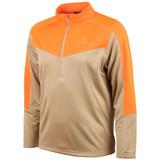 Men's Khaki and Blaze pattern Half Zippered Pullover.