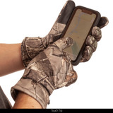 Heavyweight Soft Shell Thinsulate camo Hunting Gloves - Touch tip.