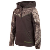 Youth's Charcoal Gray and Hidd'n Camo color Anti-Pill Fleece Lifestyle Hoodie.