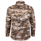 Rear view: midweight Waffle Fleece Bonded camo hunting Jacket - Microban® product protection.