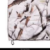 Snow Camo pattern Jacket - Side snap pockets.