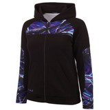 Huntworth Women's Anti-Pill Fleece Hooded Jacket (Black / Ultraviolet™)