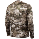 Rear view: Light Weight Camo hunting Long Sleeve Shirt - Performance polyester.