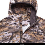 Midweight camo hunting hoodie with face mask - Chin guard & neckline.