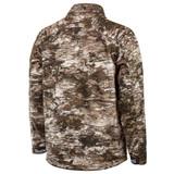 Rear view: Midweight Grid Fleece Bonded Camo Hunting Jacket - Drop tail hem.