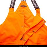 Heavyweight waterproof hunting bib overalls - Interior storm flaps.
