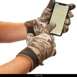 Midweight Long Pile fleece lined camo hunting gloves -  Touch tip.