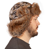 Heavyweight Waterproof Hunting Hat - Ear flaps can be secured down or up.