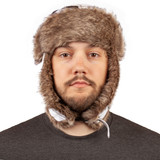 Snow Camo Pattern Hat - Lined ear flaps can be secured down or up.