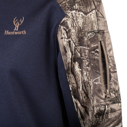 Men's Heather Performance Fleece Hoodie (Heather Navy and Hidd'n® Camo)