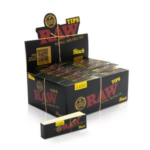 RAW Classic Black Rolling Tips (Display)